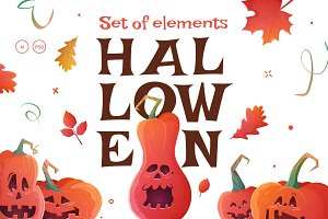 Pumpkins Halloween Set. Flyers.