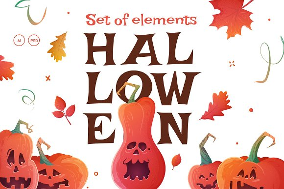 Pumpkins Halloween Set. Flyers. - Illustrations