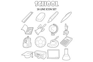 School icons set, outline style