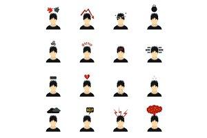 Stress icons set, flat style