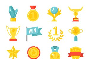 Award medal icons vector