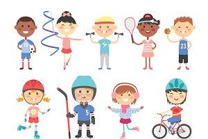 Sport kids characters vector
