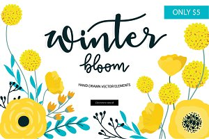 Winter bloom hand drawn vector