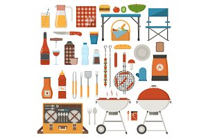 Picnic and Barbecue Elements Set