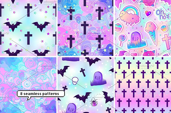 PASTEL GOTH Patches Patterns Graphic Creative Market