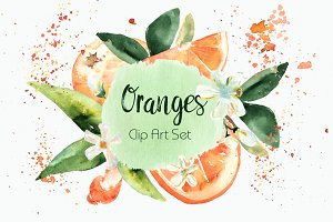 Watercolor Oranges Clipart + Wreath