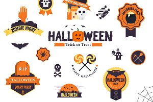 Hallowen flat designed Badges