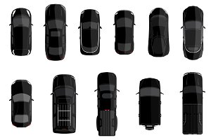 Black cars top view