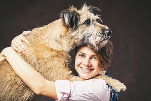 Woman with funny dog