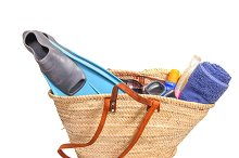 Basket filled with beach items