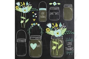 Chalkboard Flower Jar Clip Art