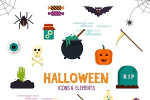 Halloween flat designed Elements