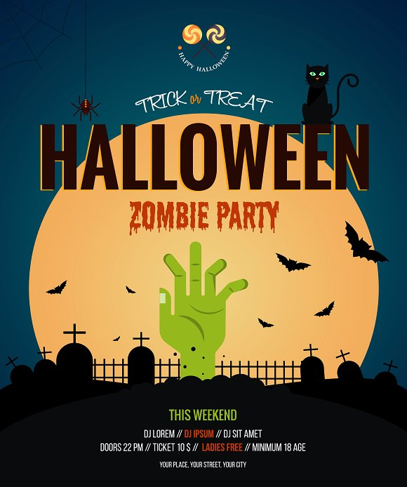 two halloween posters flat design illustrations creative market