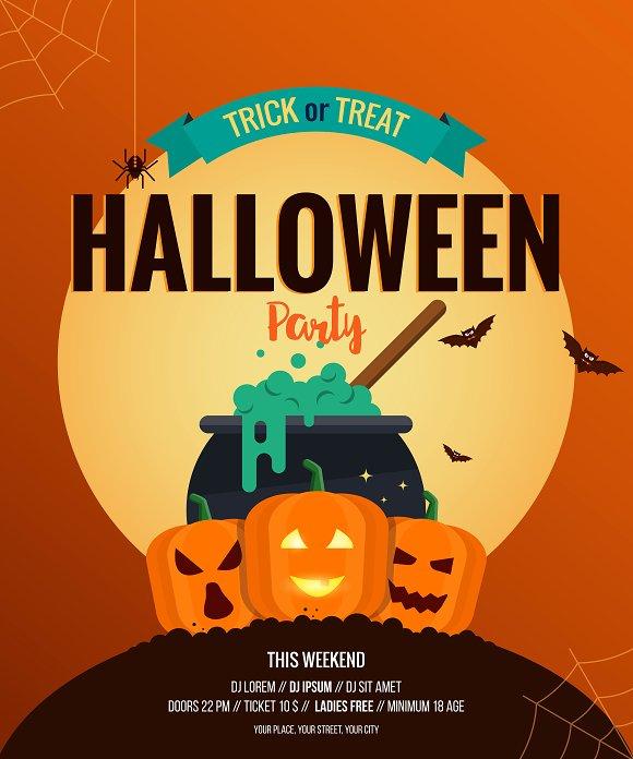 Two Halloween posters- Flat design ~ Illustrations ~ Creative Market