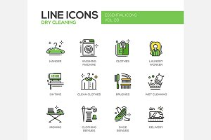 Dry Cleaning - Line Icons Set