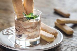 Chocolate tiramisu in the glass