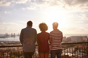 Friends and View of Cityscape