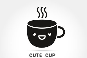coffee cute cup logo design elements