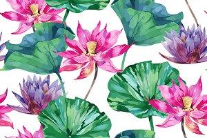 Pink lotus vector pattern