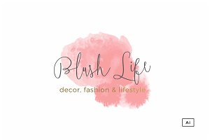 Blush Life Watercolor Logo Template