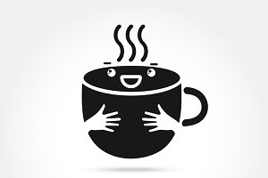 ้hug coffee cute cup logo design