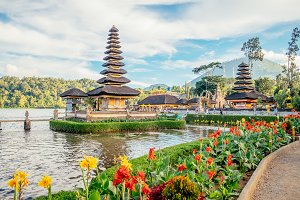 Pura Ulun Danu Bratan, Hindu temple surrounded by flowers on Bratan lake is a major Shivaite and water temple in Bali, Indonesia. Asia landmark