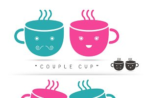 coffee couple cute cup logo design