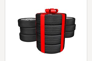 Tires as a gift. 3d rendering