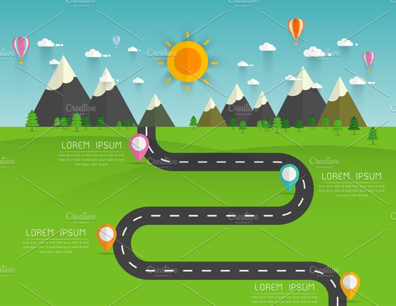 road with markers infographics illustrations creative