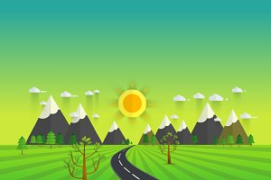 Road in green valley  illustration