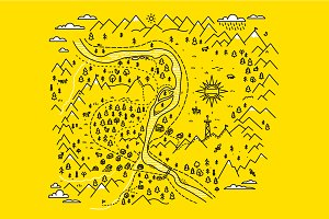 Mountains map, set graphic elements