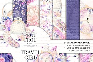 Travel Summer Digital Paper Pack