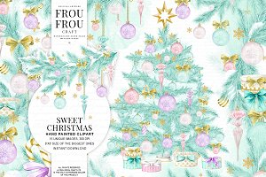 Watercolor Christmas Pastel Clipart