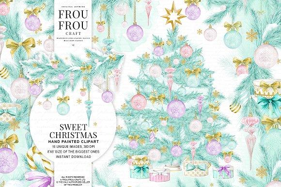 Watercolor Christmas Pastel Clipart