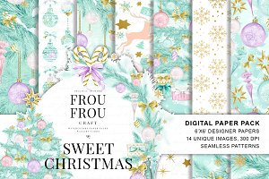 Pastel Christmas Digital Paper Pack