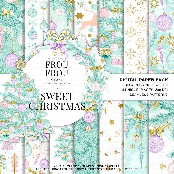 Pastel Christmas Digital Paper Pack