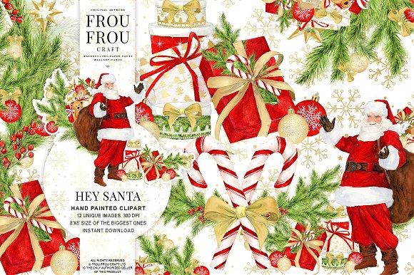 Watercolor Santa Claus Clipart