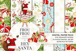 Santa Watercolor Digital Paper Pack