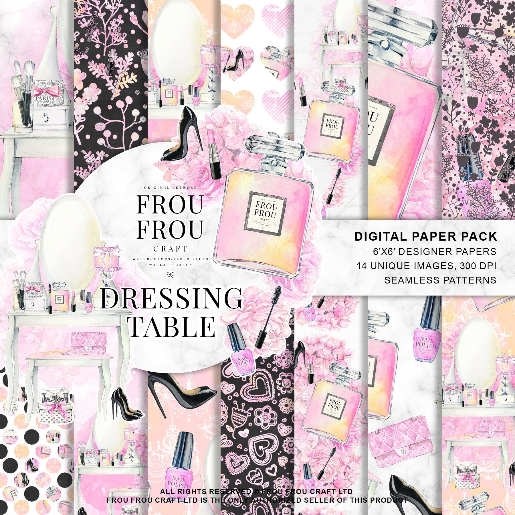 Makeup Watercolor Digital Paper Pack