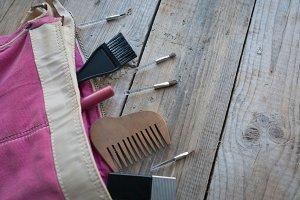 Cosmetic set in a handbag.