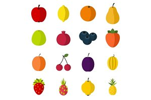 Fruit icons set, flat style