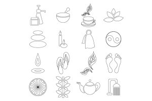 Spa icons set, outline style