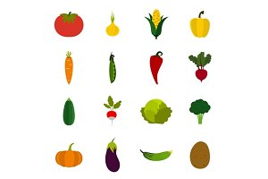 Vegetables icons set, flat style