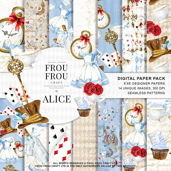 Alice In Wonderland Paper Pack Graphic Patterns Creative Market