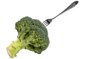 Green broccoli with fork