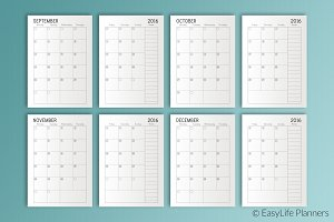Month Planner 2016-2017 A5 Printable