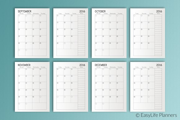 month planner 2016 2017 a5 printable stationery templates