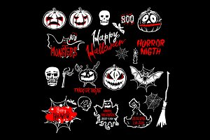 vector Halloween set, drawn