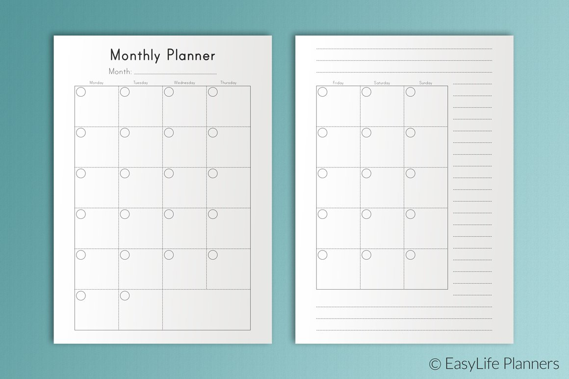 monthly planner a5 printable pdf templates creative market