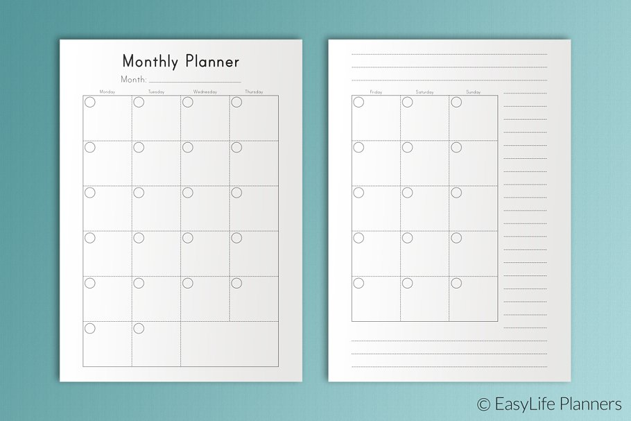 Monthly Planner A5 Printable PDF
